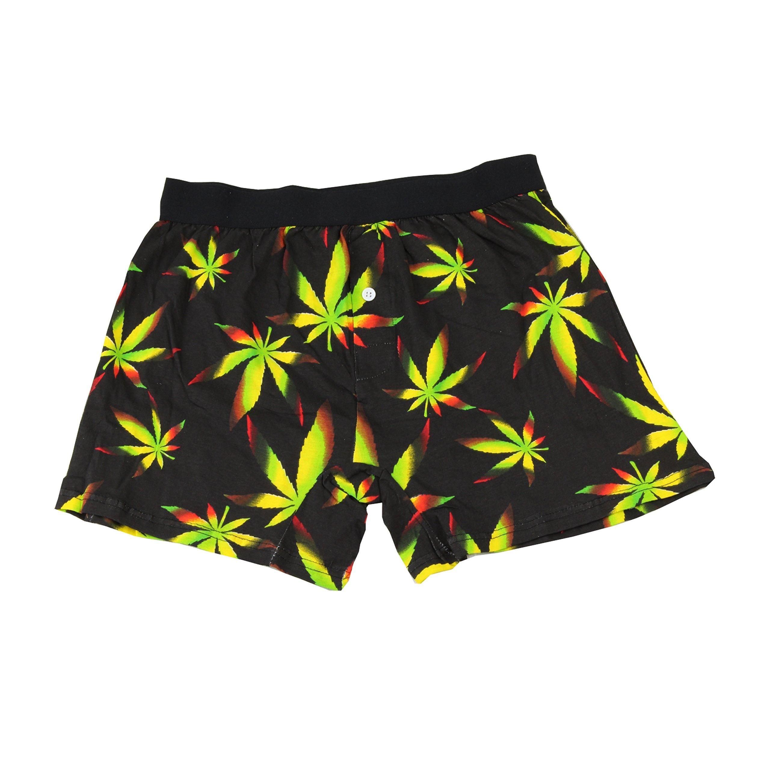 Mens Marijuana Cannabis Leaf Print Boxer Shorts 420 Rasta