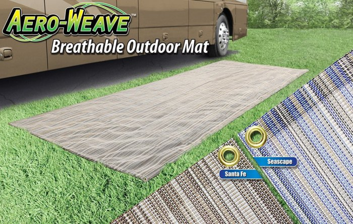 Amazon.com: Prest-O-Fit 23031 Aero-Weave 7.5' x 20' Santa Fe Outdoor Mat: Automotive We've had this outdoor mat since 2008, and absolutely love it. Drains well, folds pretty small and easily cleans up.