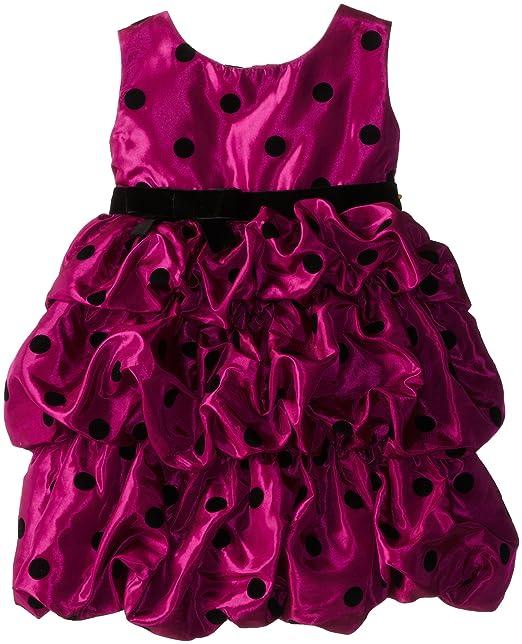 Blueberi Boulevard Little Girls' Dot Print Flocked Bubble Dress, Cerise, 4T