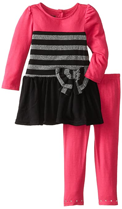 Young Hearts Little Girls' 2 Piece Stripe Hatchi Legging Set, Charm Peony, 2T