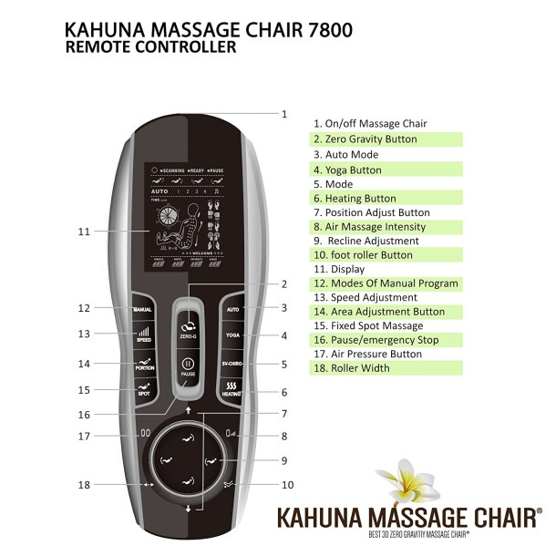 kahuna massage chair Remote