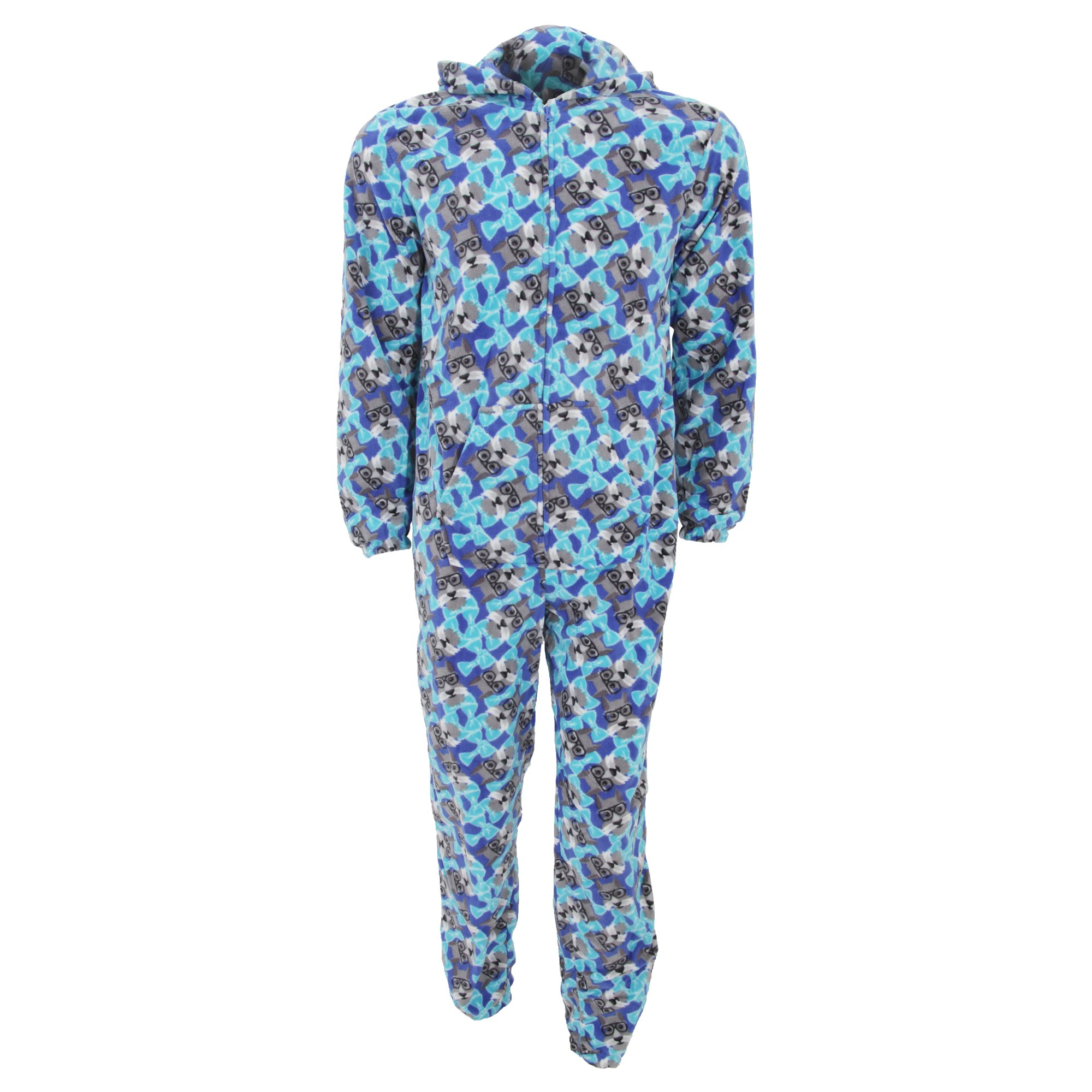 Mens Hooded Geek Dog Pattern Microfleece Onesie