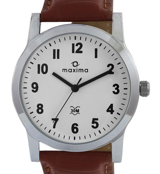 Maxima 44688LMGI Attivo White Round Analog Watch for Men