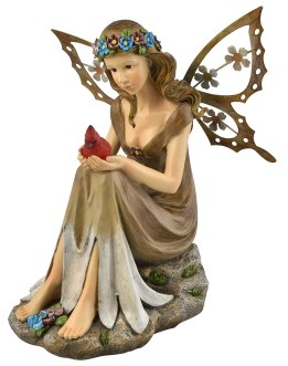 CLICK to see Solar Powered Garden Fairy with Glowing Cardinal on Amazon