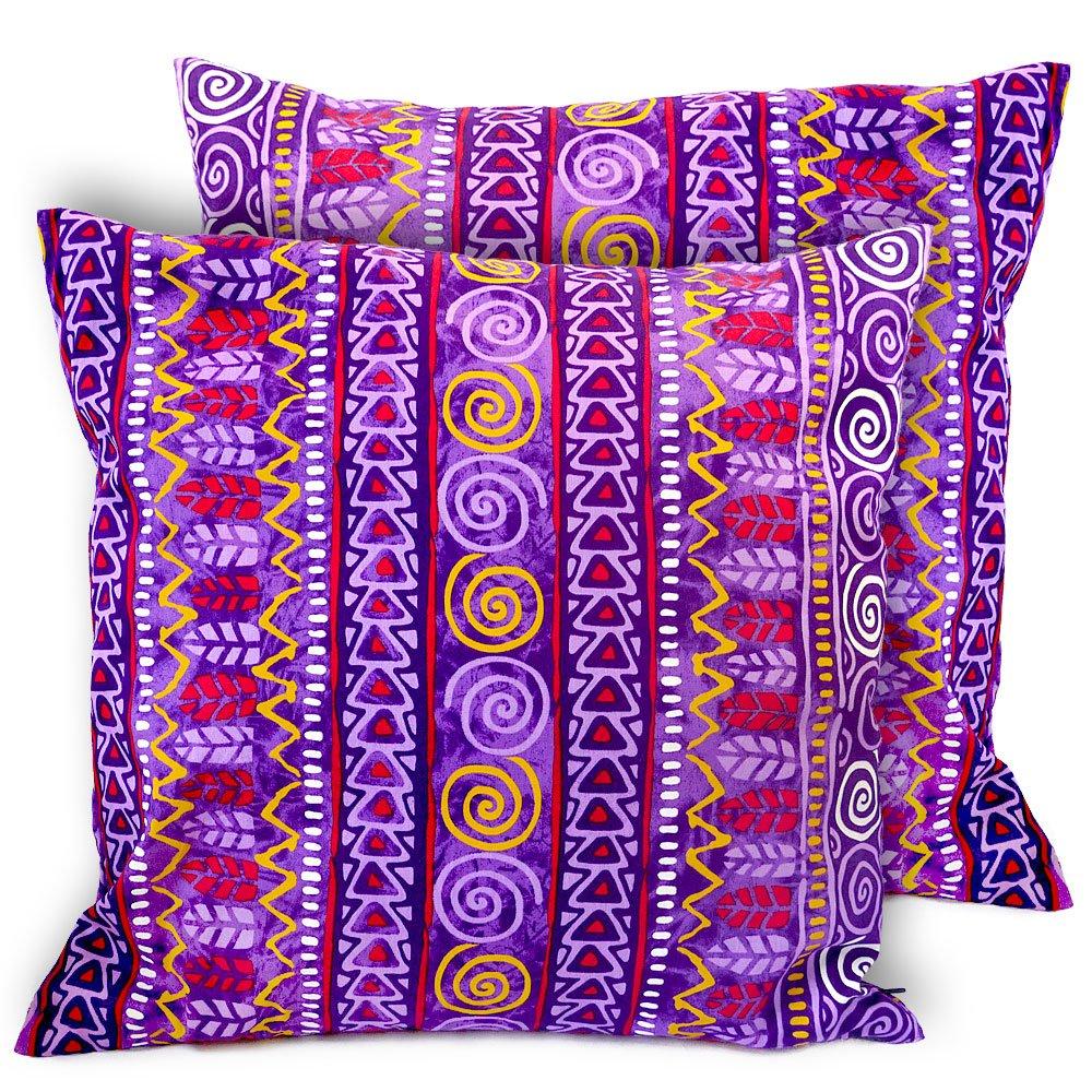 CushionArt Impalla - Throw Pillow Cushion Cover - 18x18in Purple - Set of 2