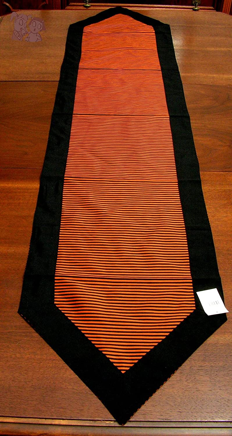 Table Runner, 16x72 Inches, Halloween Orange and Black Stripes with Black Edges