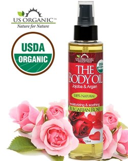 #1 Body & Bath Oil - Romantic Sexy Bulgarian Rose ★ Certified Organic by USDA ★ Jojoba & Argan Oil w/ Vitamin E ★ No Alcohol, Paraben, Artificial Detergents, Color or Synthetic perfumes ★ 5 Fl.oz.