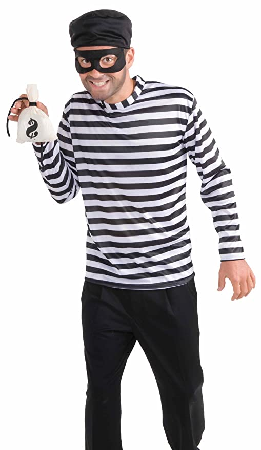 Men's Burglar Costume, White/Black, One Size
