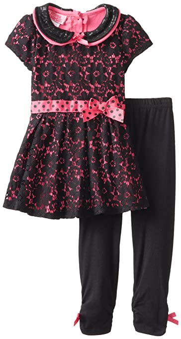 Young Hearts Little Girls' 2 Piece Floral Short Sleeve Fashion Legging Set, Black, 2T