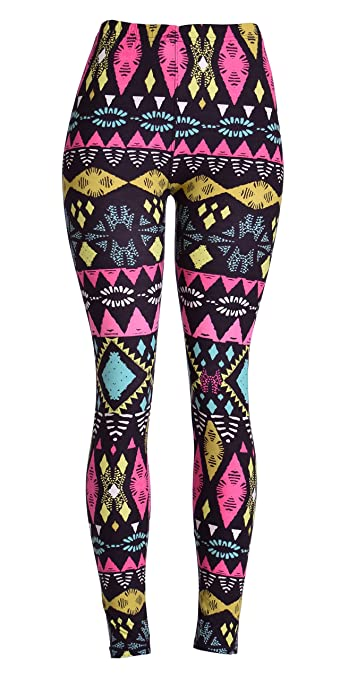 VIV Collection Women Stripe Tribal Aztec Navajo Chevron Spring Floral Newest Leggings (Jewel Abstract)