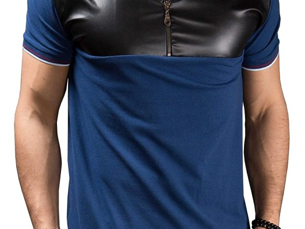 Fanideaz Men's Half Sleeve Half Zipper Contrast Leather Polo T Shirt