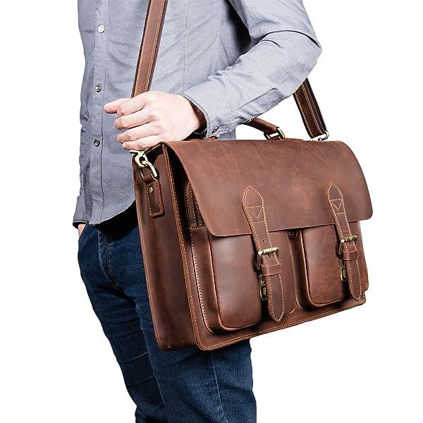 Kattee Handmade Genuine Leather Laptop Briefcase Messenger Bag