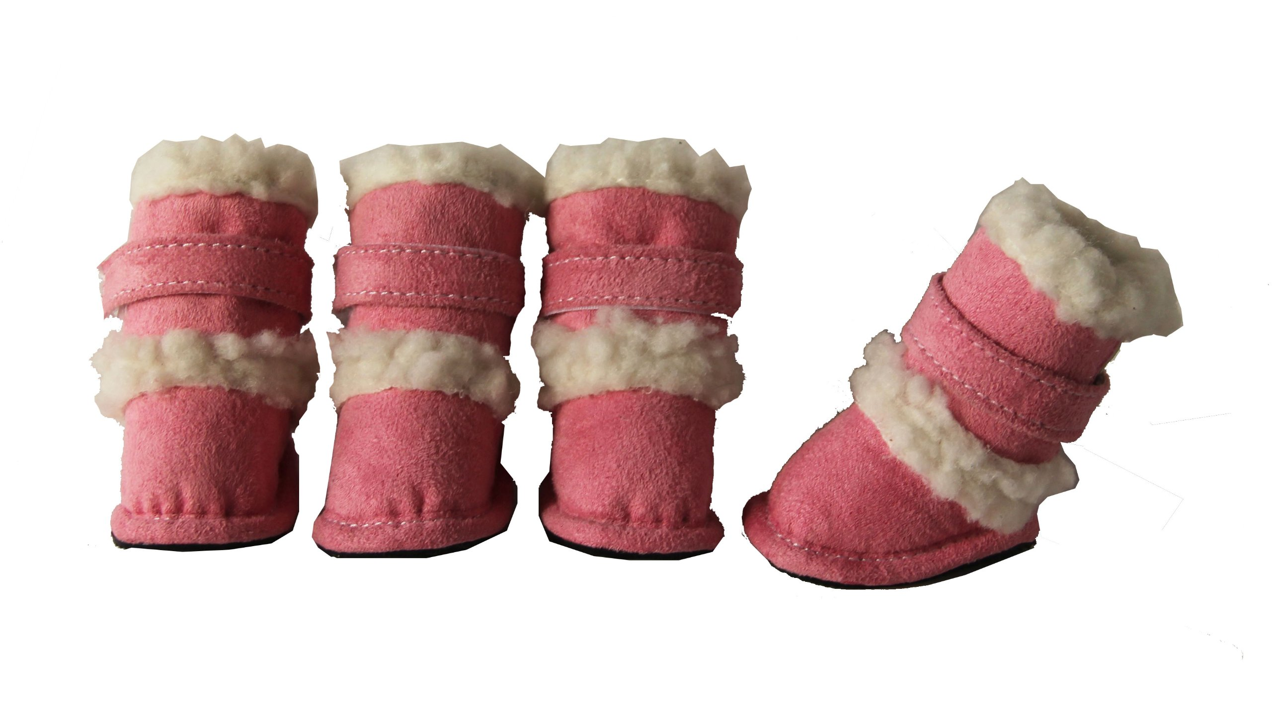 "Pet Life Shearling ""Duggz"" Dog Boots in Pink & White - X-Small dog uggs"