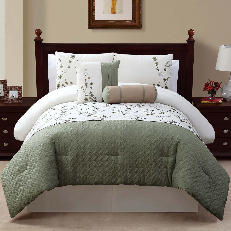 Victoria Classics Sadie 5 Piece Comforter Set, Queen, Green