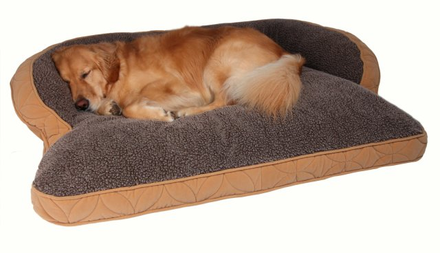 "Floppy Ears Design Microfiber and Fleece Surround Bolster Dog Bed, Large Size (for Large Dogs), 48"" x 36"", Tan"