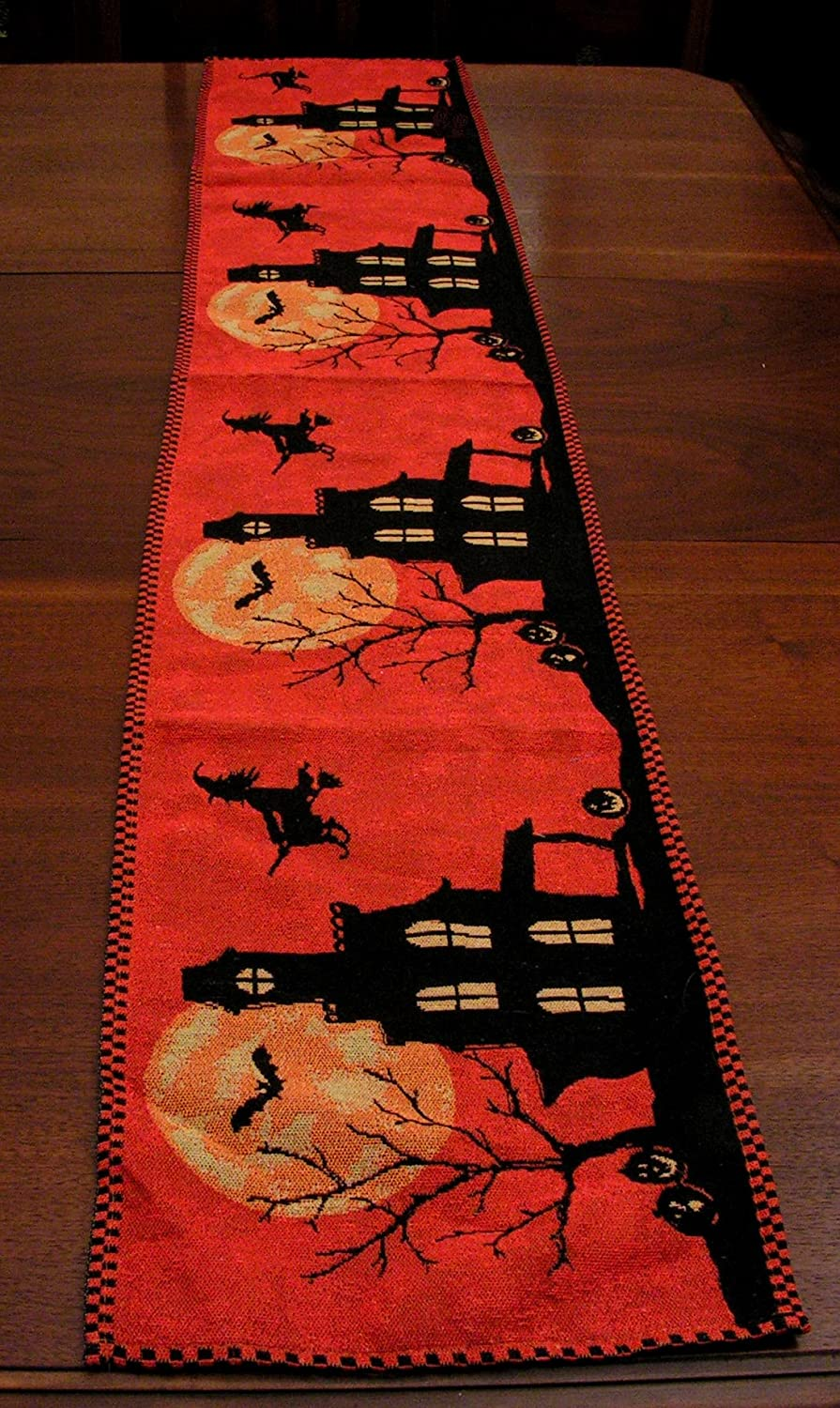 Halloween Fabric Kitchen Table Runner Haunted House Bats Witch Orange Black NIP
