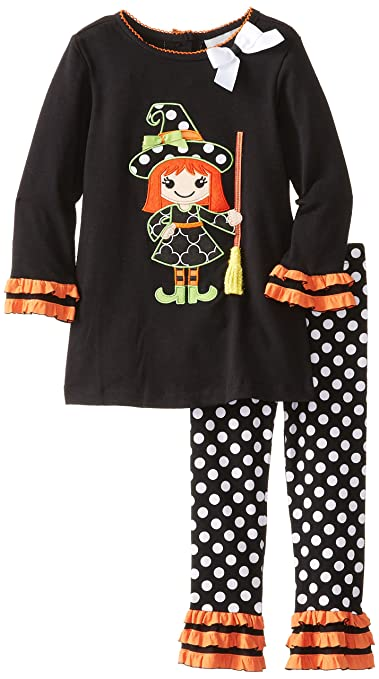 Rare Editions Little Girls'Witch Applique Dot Legging Set