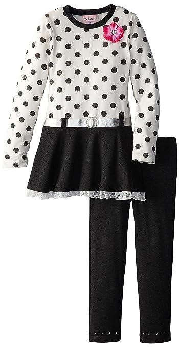 Little Lass Little Girls' 2 Piece Hacci Tunic Set, Ivory/Charcoal Grey, 2T