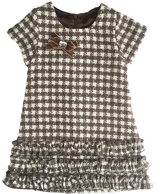 Lilax Little Girls' Short Sleeve Mosaic Pattern Winter Dress 2T Brown