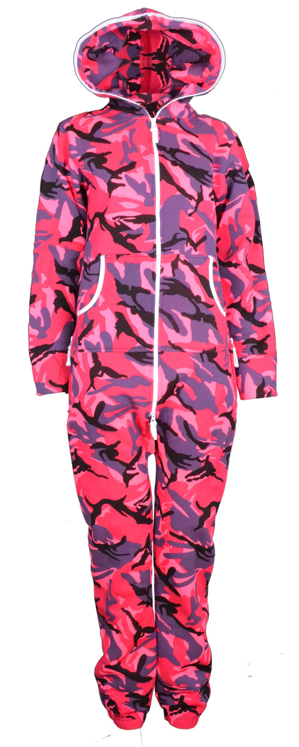 New Unisex Womens Fleece Pink Camoflauge Print Onesie Jumpsuit