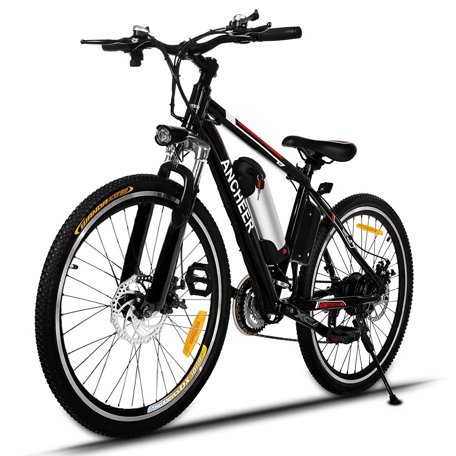 Ancheer Power Plus Electric Mountain Bike with Removable Lithium-Ion Battery, Battery Charger