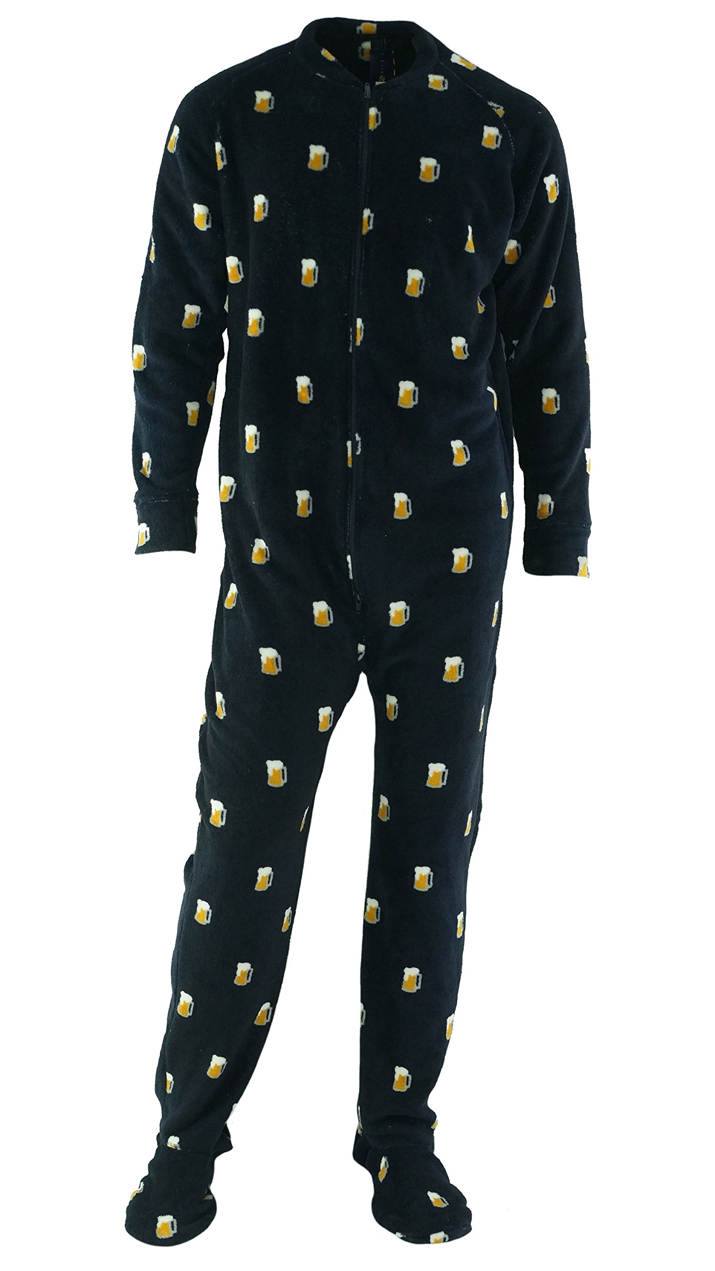 Men's Sleepwear, Beer Mug Print Fleece Footie Pajamas