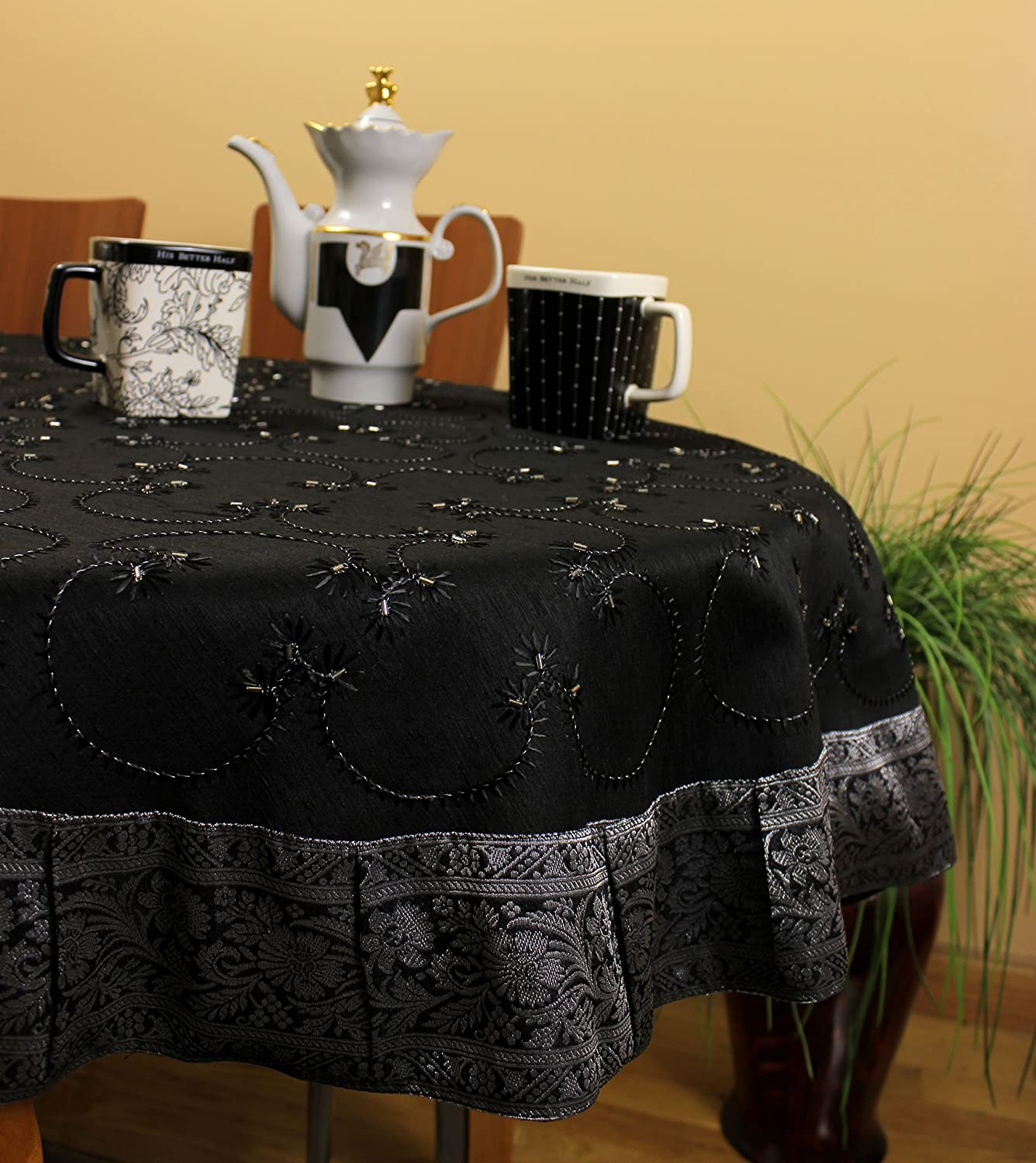 Hand Embroidered Round Tablecloth (Mystic Black, 70 Round)