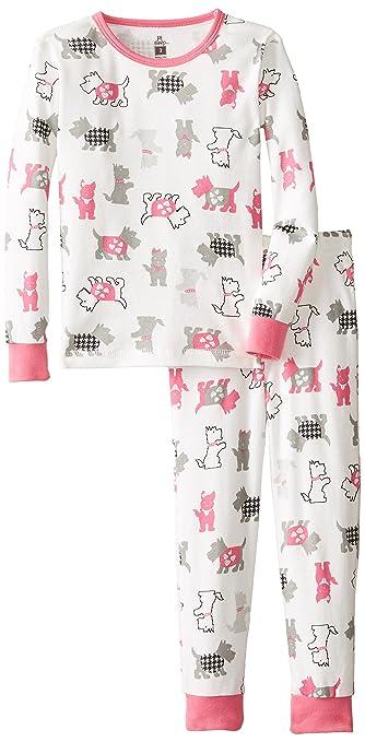 Petit Lem Little Girls'  Be Classy Dogs 2 Piece Pant Sleep Set, White Multi, 5
