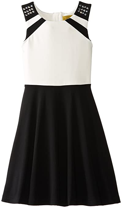 Nicole Miller Big Girls' Girls Fit and Flare Knit Ponte Dress, Black, Large
