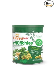 Happy Baby Organic Superfood Munchies Baked Cheese & Grain Snacks, Broccoli Kale & Cheddar Cheese, 1.63 oz (Pack of 6)