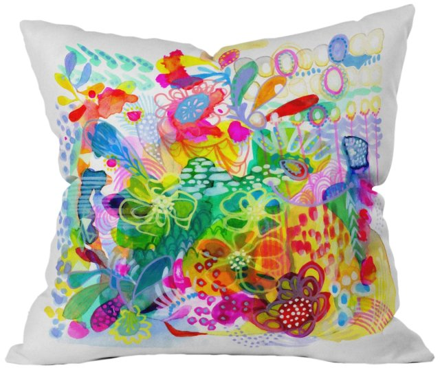 DENY Designs Stephanie Corfee Painted Garden Throw Pillow, 16 by 16-Inch
