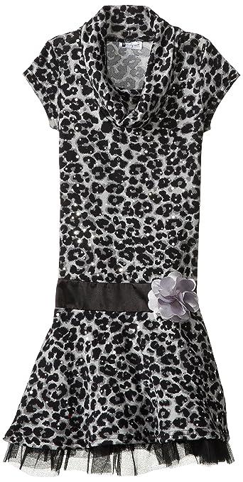 Emily West Big Girls' Cap Sleeve Brushed Knit Dress, Black/White, 10