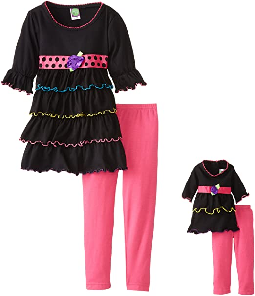 Dollie & Me Little Girls' Tiered Ruffle Legging Set, Black/Pink, 4