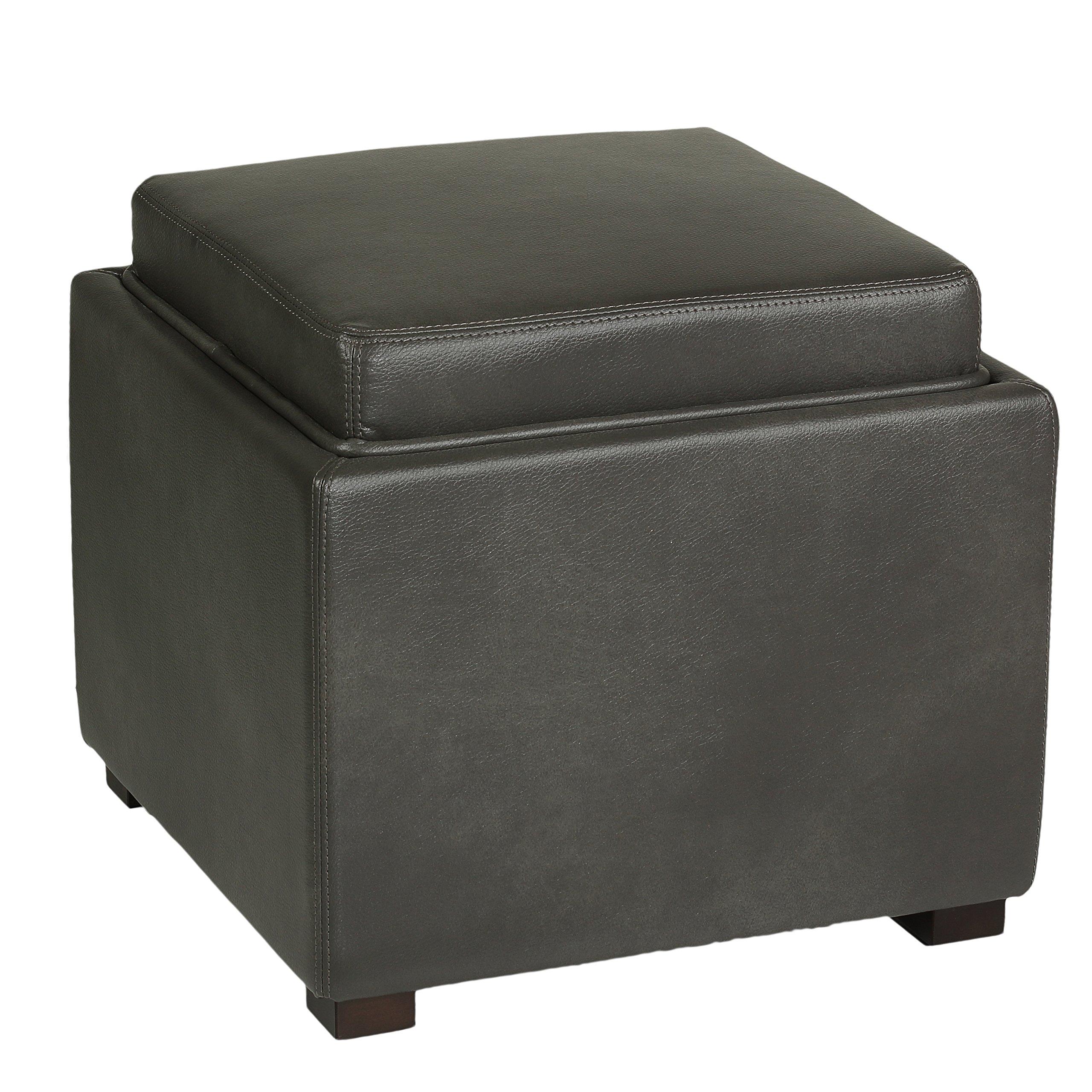Cortesi Home Mavi Grey Top Tray Storage Cube Ottoman In
