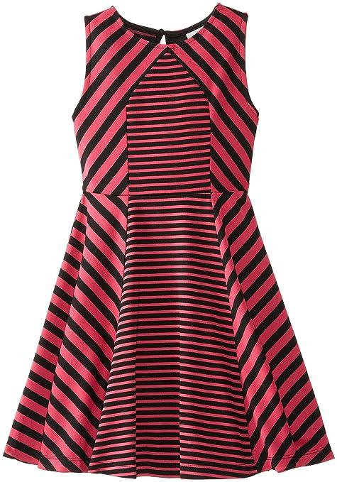 Rare Editions Big Girls' Knit Dress with Mixed Stripes, Fuchsia/Black, 7