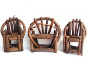 Miniature Fairy Garden Grapevine, Twig Bench and 2 Grapevine, Twig Chairs Set (Set of 3)