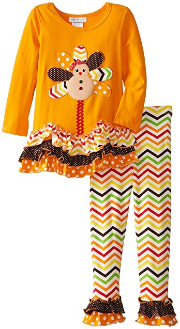 Bonnie Jean Little Girls' Orange Turkey Legging Set