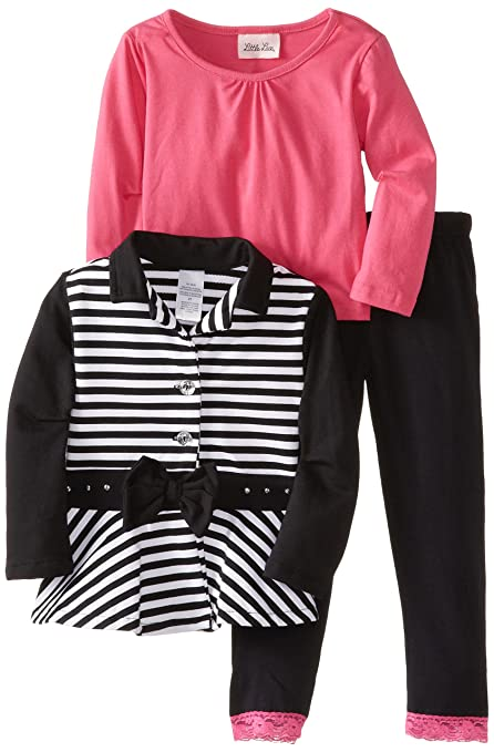 Little Lass Little Girls' 3 Piece Stripe Jacket Set, Black, 2T