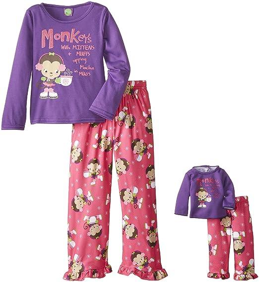 Dollie & Me Big Girls' Monkeys with Earmuffs Pajama Pant Set, Purple/Pink, 4