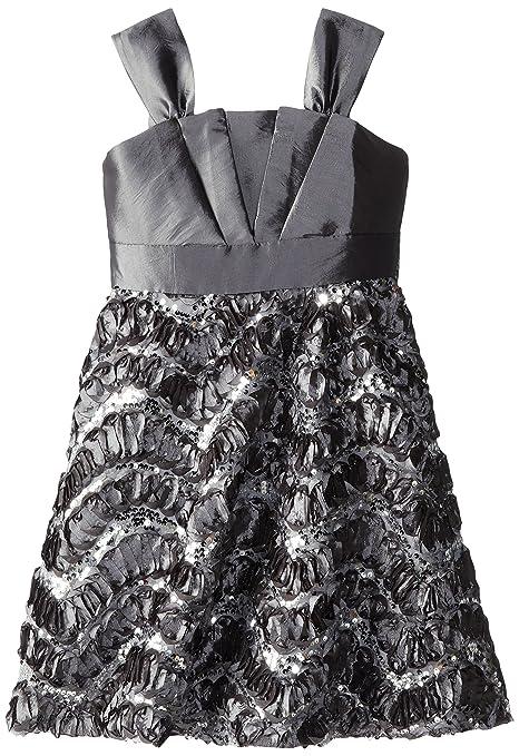 Rare Editions Big Girls' Silver Taffeta Dress, Silver, 10