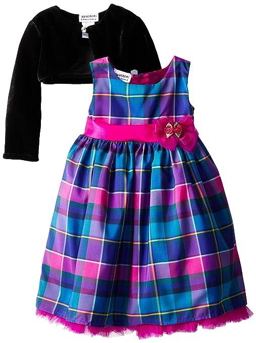 Blueberi Boulevard Little Girls' Plaid Special Occasion Dress with Shrug, Multi, 6X