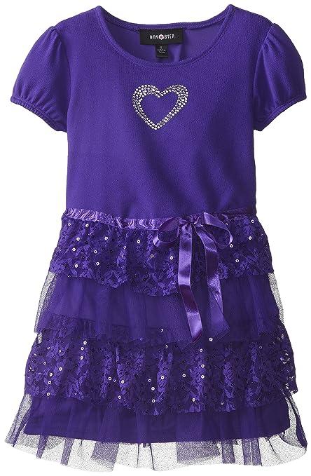 Amy Byer Little Girls' Cap Sleeve Tier Dress, Purple, 6X