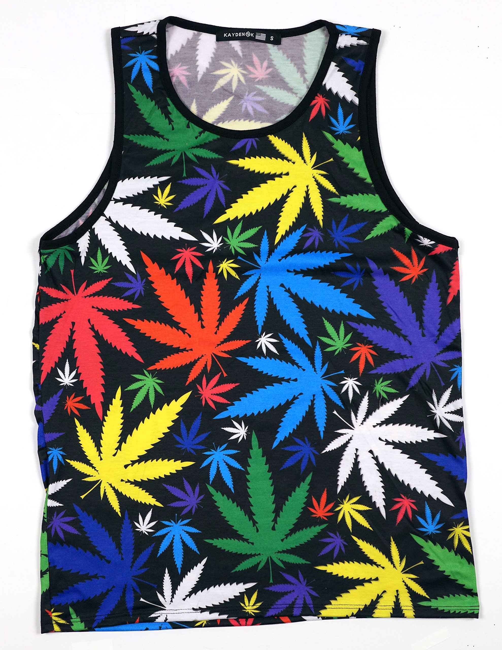 KAYDEN.K Men's Sublimation Tank Top Colorful Marijuana Leafs 2 sides printed