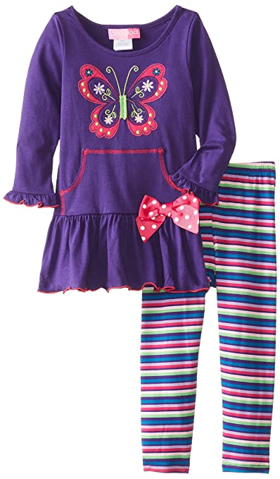 Good Lad Little Girls' Butterfly Applique Legging Set, Purple, 2T