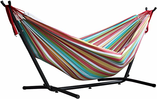 Vivere Double Hammock with Space Saving Steel Stand, Salsa