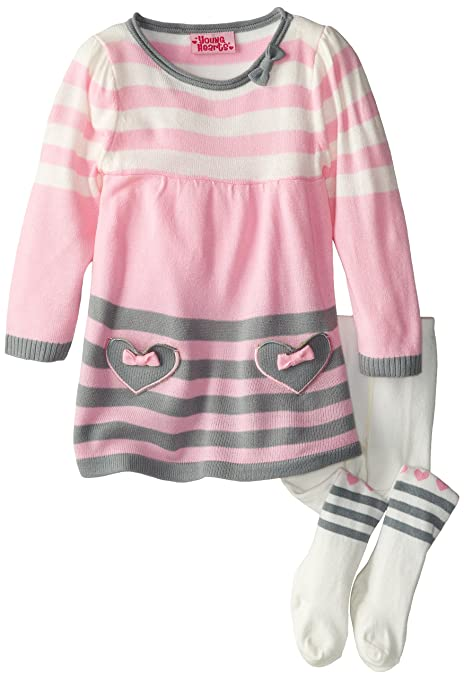 Young Hearts Little Girls' 2 Piece Heart Sweater Dress W Tights, Pink, 2T