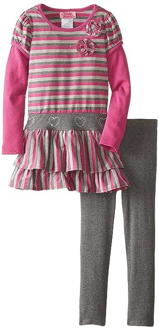Young Hearts Little Girls' 2 Piece Stripe Rosette Hatchi Legging Set, Purple, 4