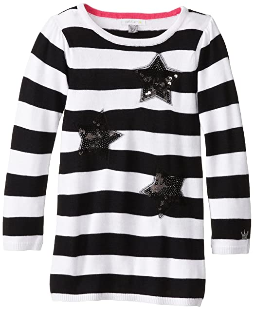 Petit Lem Little Girls' Glamorous Long Sleeve Knit Dress, Black Stripe, 2