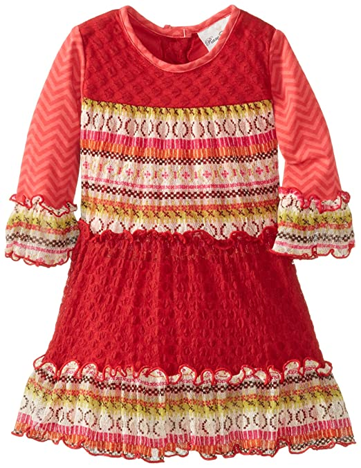 Rare Editions Little Girls' Lace 3 Tier Dress, Printed, 6X