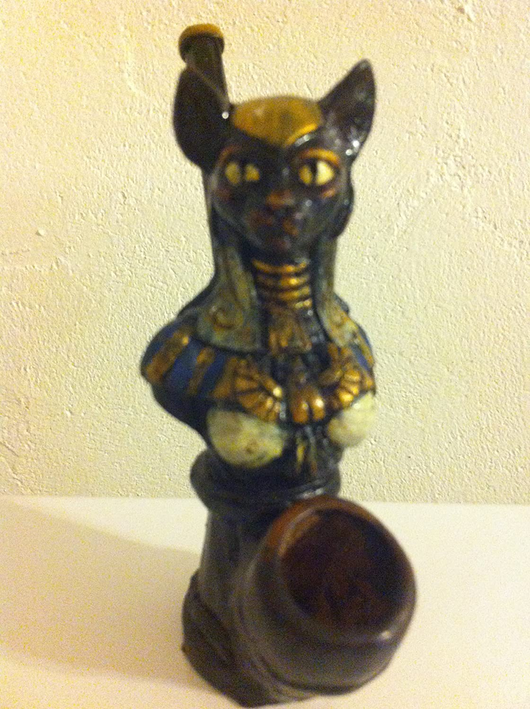 Handmade Tobacco Pipe, Bastet Egyptian Goddess Design